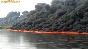صور حريق نهر دجلة اليوم 1435 , بالفيديو نهر دجلة يتحول إلى كتلة لهب بعد تفجير أنابيب نفط