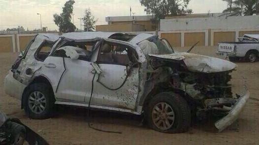صور و تفاصيل حادث سير عبدالله بن شايق على طريق الرياض اليوم 1435