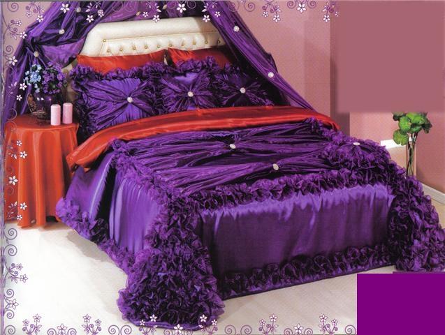 مفارش غرف النوم باللون الموف , صور تصميمات مفارش غرف نوم للعرسان
