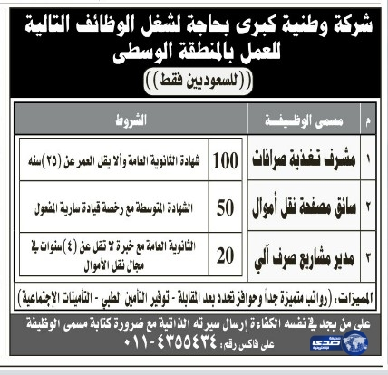 وظائف تعليمية اليوم الاثنين 13-7-1435 , وظائف تعليمية اليوم الاثنين 12 ايار 2014
