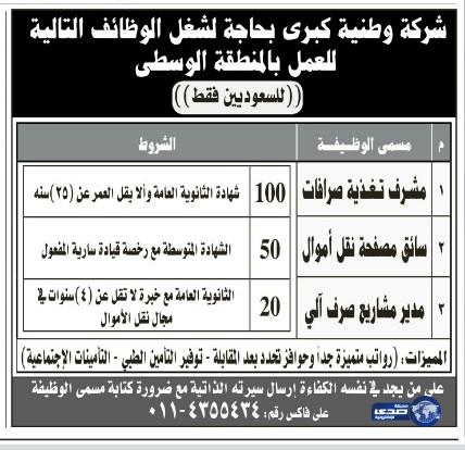 وظائف رجالية في الرياض اليوم الاثنين 13-7-1435