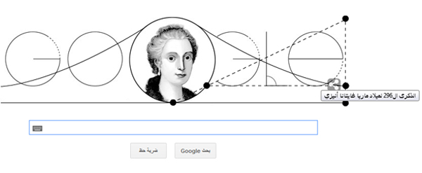 صور ماريا غايتانا أنيزيإرسال , احتفال جوجل بالذكرى 296 لميلاد ماريا غايتانا أنيزي