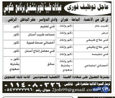 وظائف رجالية اليوم 24-7-1435 , وظائف شبابية الجمعة 23-5-2014