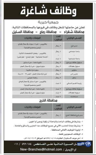 وظائف شاغرة اليوم 1-8-1435 , وظائف جديدة الجمعة 30-5-2014