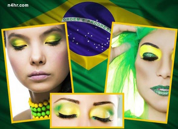صورة لمكياج خاص بمشجعات البرازيل , صور مشجعات البرازيل كاس العالم , مكياج مشجعات البرازيل