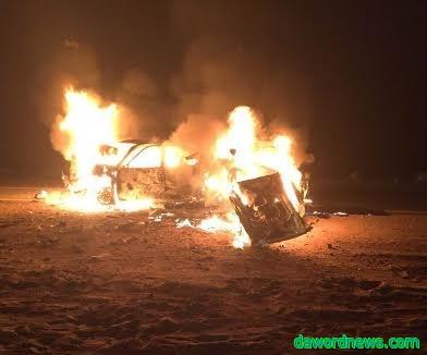 صور وتفاصيل حادث وفاة تفحم معلم وأخته وطفلها في حادث طلعة إسماعيل بالقصيم
