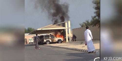 بالصور تعرض ثلاث سيارات لحريق داخل شرطة الخفجي