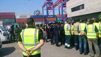استمرار اضراب ميناء حاويات العقبة 7-12-2014