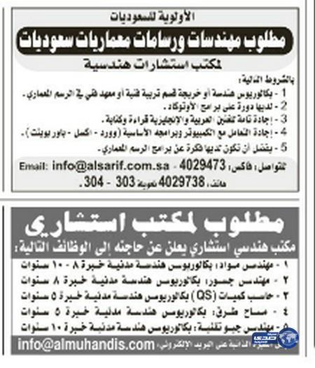 وظائف رجالية اليوم الخميس 19-2-1436 , وظائف نسائية 11-12-2014