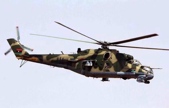 الطيران العمودي يصد محاولة لتقدم قوات فجر ليبيا بالقرب من بن جواد