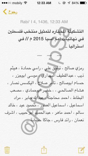 تشكيلة منتخب فلسطين كأس اسيا 2015