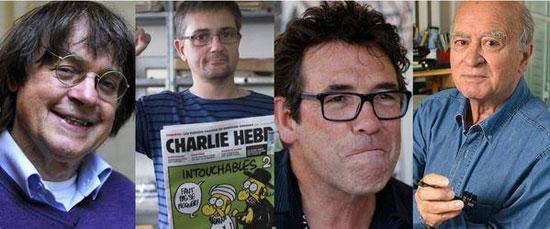 صور رسامى الكاريكاتير المسئ للرسول قتلى الهجوم على صحيفة شارلى ابدو
