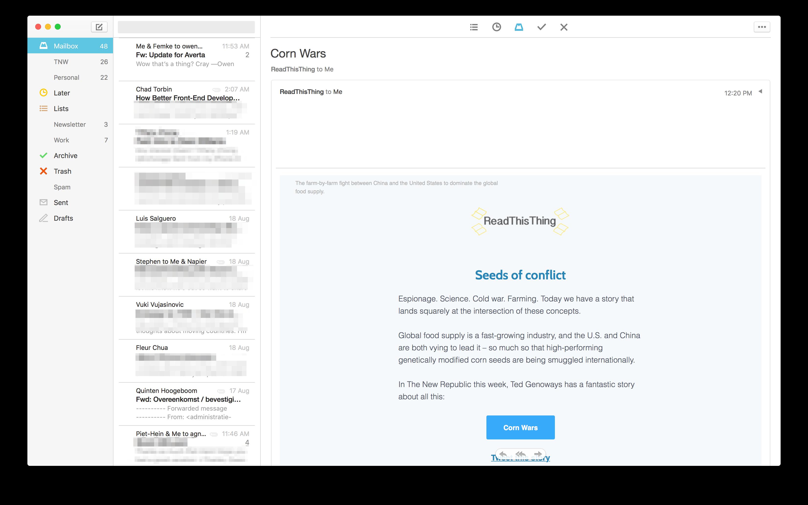 تحديث تطبيق Mailbox على نظام ماك يجلب تصميم جديد وعدد من التحسينات