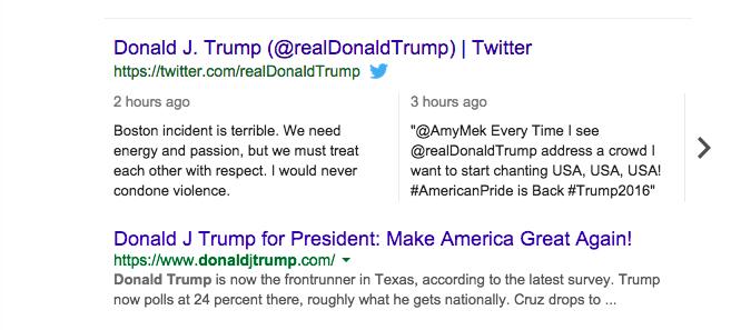 تغريدات تويتر تصل إلى نتائج بحث قوقل على سطح المكتب