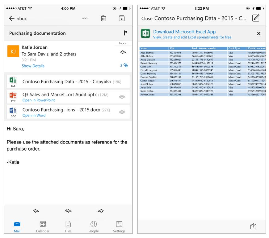 ����� Outlook ��� iOS ���� ������� �� ������� �����