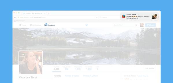 موقع تويتر يعرض تنبيه بوصول رسالة خاصة جديدة