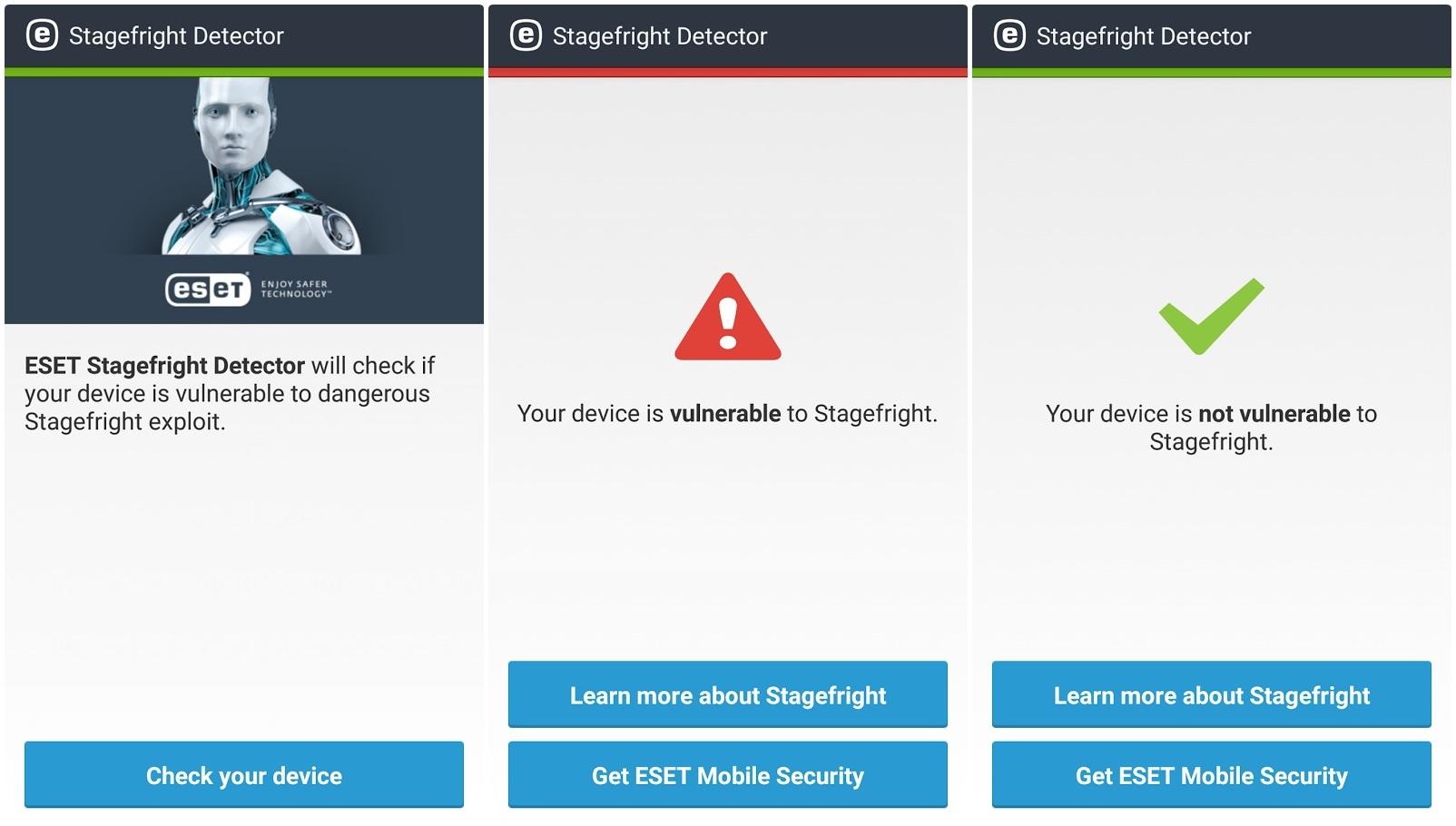 تطبيق ESET Stagefright Detector مكافحة الفيروسات