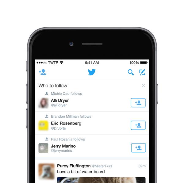 تويتر تضيف على الجدول الزمني للمستخدم خاصية Who to follow