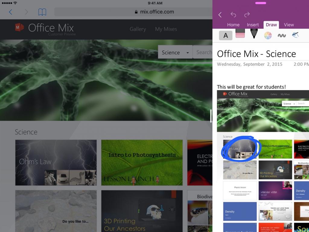 تطبيق OneNote يجلب خاصية تعدد المهام في نظام iOS 9 وآيباد برو