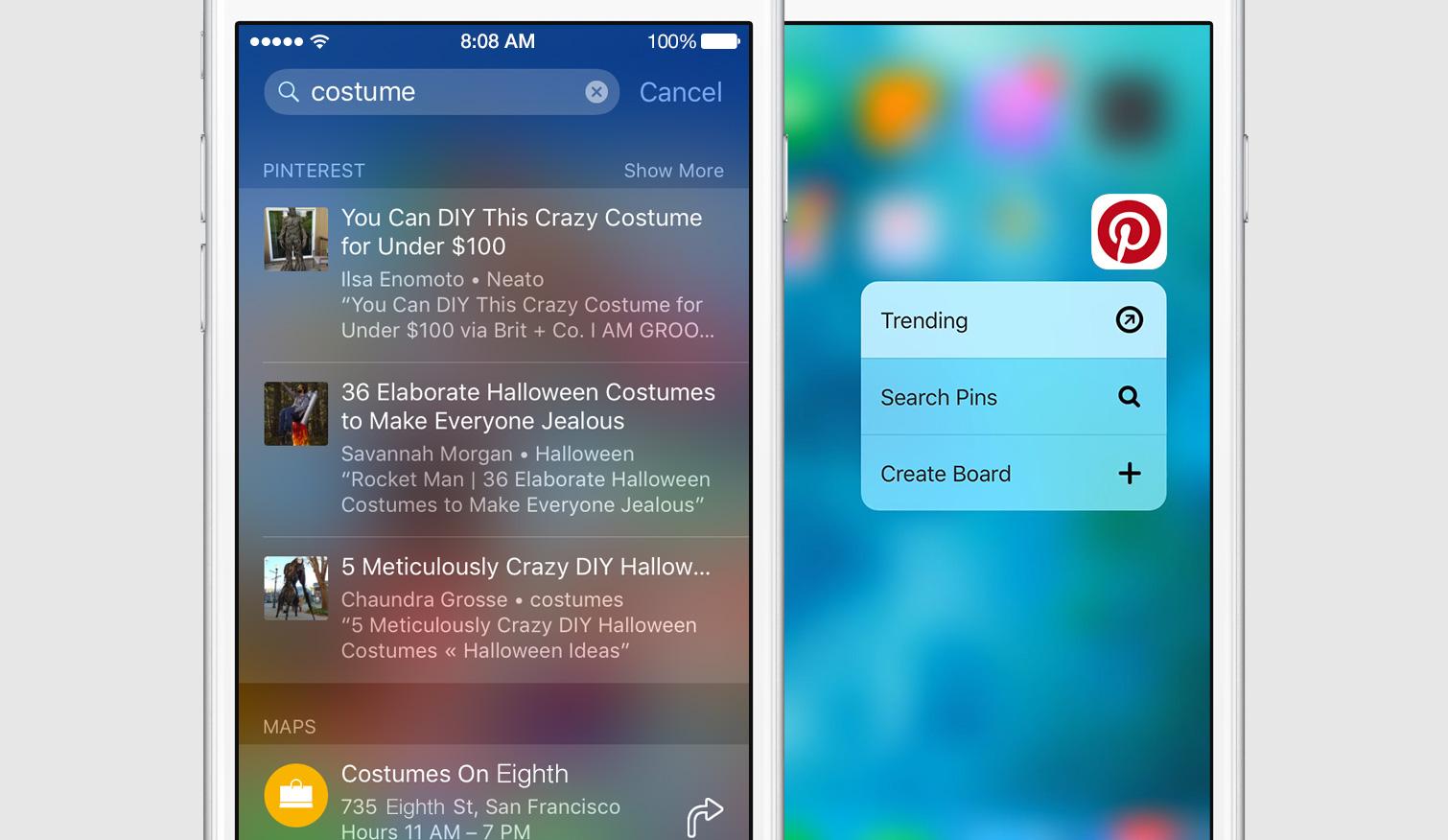 ����� Pinterest ���� ����� ������ 3D Touch � Spotlight ��� iOS 9