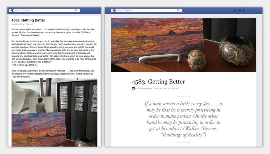 فيس بوك تجلب تصميم ميديوم إلى خدمة الملاحظات