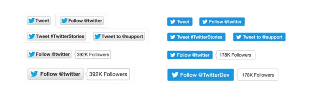 تويتر تعتمد تصاميم جديدة لأزرار المتابعة والتغريد