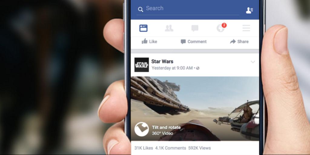 فيس بوك يدعم رفع مقاطع فيديو بانورامية 360 درجة