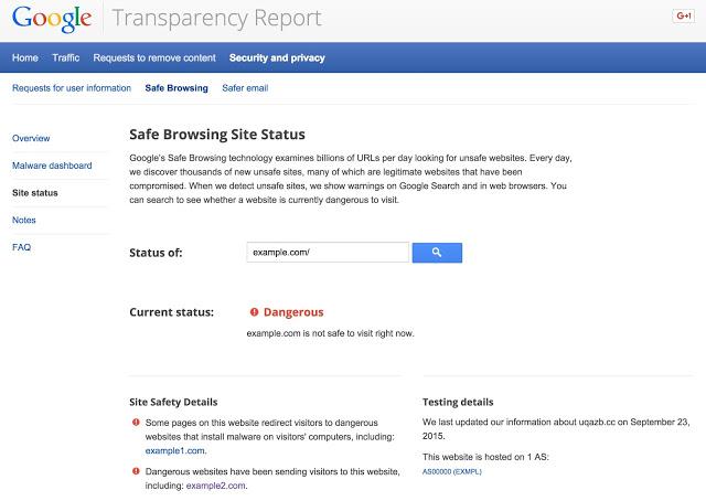 أداة Site Status معرفة أسباب حظر المواقع من جوجل