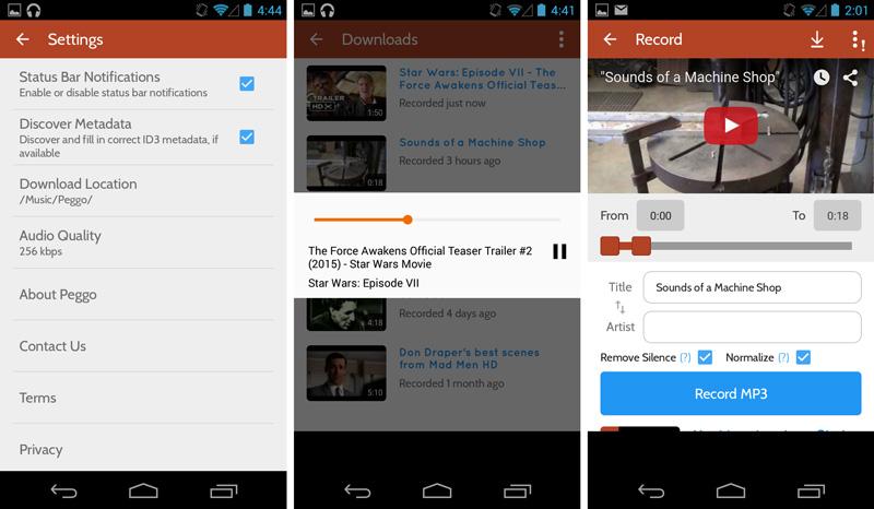 تحميل تطبيق Peggo لتسجيل مقاطع اليوتيوب لصيغة MP3