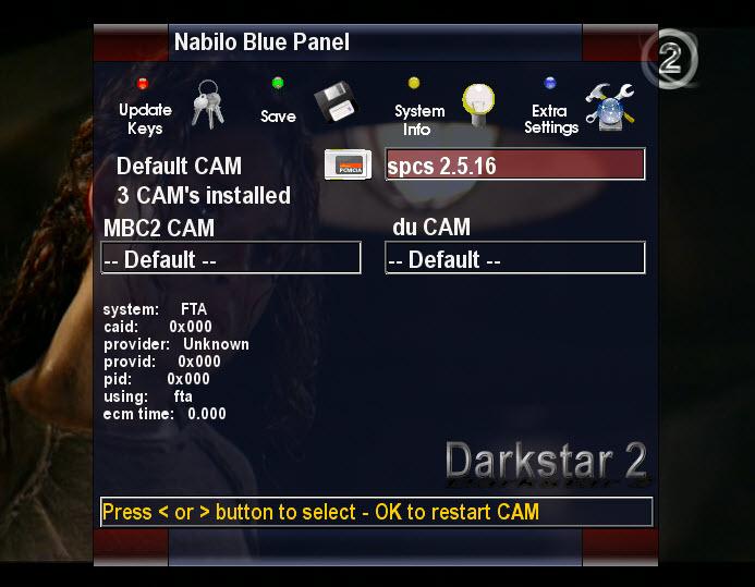 صورة NabiloDarkstar2 ايمو CCcam2.1.2 و SPCS2.5.16 مدموجاً و تغير قوائم القنوات