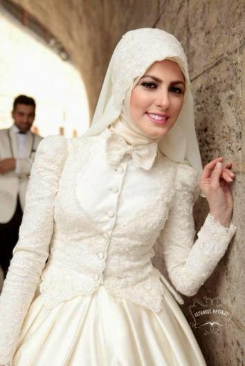 موضة فساتين زفاف 2016 , فساتين زفاف للمحجبات 2016 , اجمل فساتين محجابات للافراح 2017