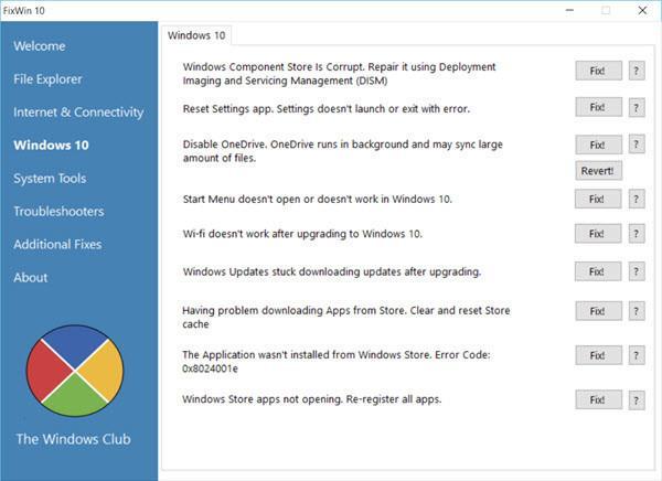 تطبيق FixWin 10 لحل مشاكل ويندوز 10 الشائعة