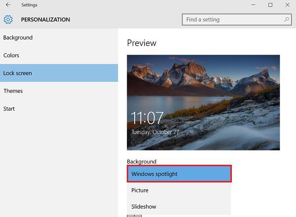 كيفية تفعيل خاصية Spotlight في ويندوز 10 للخلفيات المميزة