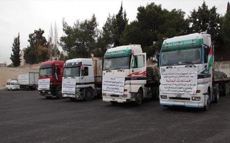 مساعدات من الهيئة الخيرية الأردنية الهاشمية الى قطاع غزة اليوم الاثنين 15/11/2015