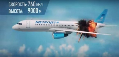 فيديو قناة تلفزيونية روسية توضح كيفية سقوط الطائرة الروسية في سيناء