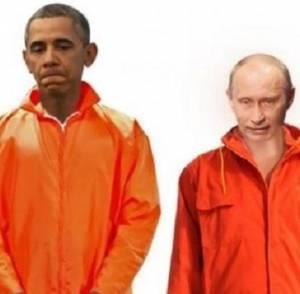 تنظيم داعش ينشر صورة يلبس أوباما وبوتين زي الإعدام ويهدد أمريكا