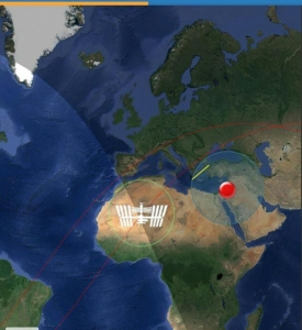 محطة الفضاء الدولية ISS عبرت سماء المملكة الاردنية الهاشمية اليوم الجمعة