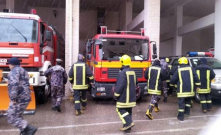 الدفاع المدني الاردني حريق داخل كنيسة الروم الارثوذكس