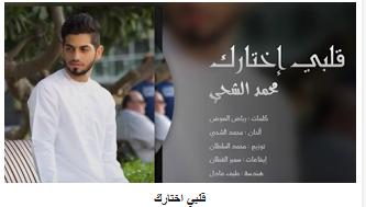 كلمات اغنية قلبي اختارك محمد الشحي كاملة