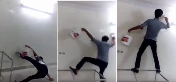 شاهد يوتيوب سقوط محرج لعامل طلاء تركي