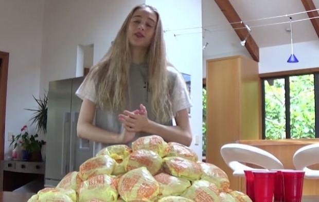 فيديو فناة حسناء تحاول أكل 100 شطيرة ماكدونالدز في وقت واحد