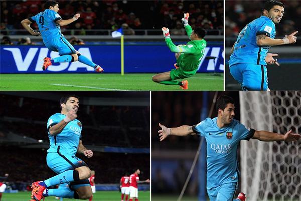 يوتيوب هاتريك سواريز في مباراة برشلونة وجوانزو كأس العالم للاندية 14-12-2015 بجودة HD