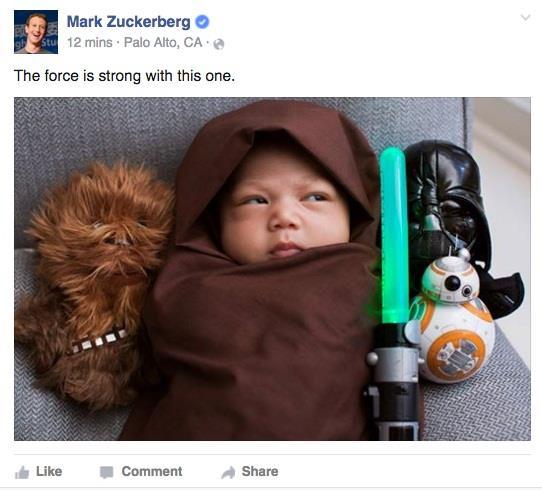 مارك زوكربيرغ يحول ابنته لأحد معجبين فيلم حرب النجوم