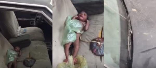 شاهد فيديو العثور على طفلة رضيعة داخل سيارة مهجورة في حي بني مالك بمحافظة جدة