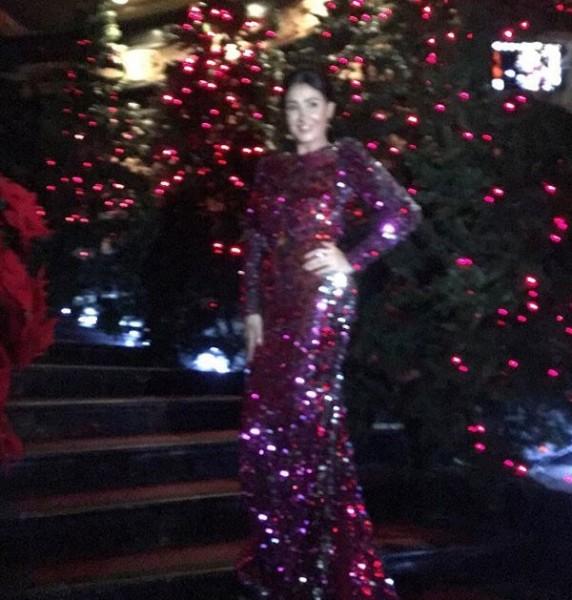 صور غادة عبدالرازق بهذا الفستان تتحول لشجرة كريسماس 2016