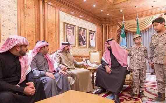 صور محمد بن سلمان يستقبل أسرة الشهيد العقيد عبدالله السهيان