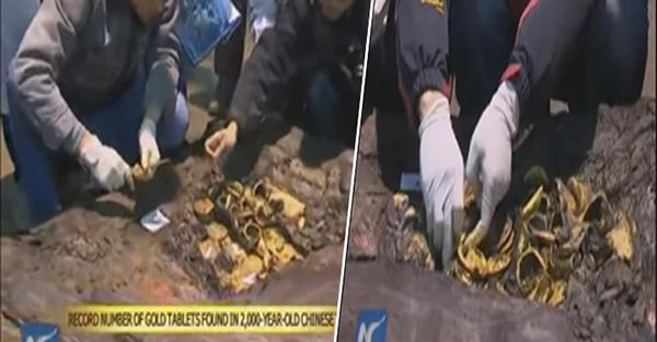 فيديو صينيين عثرو على 285 قرص ذهب في قبر قديم بالصين