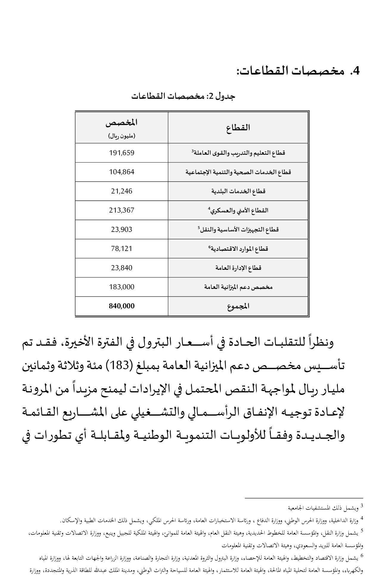 جدول مخصصات القطاعات الحكومية في ميزانية 2016