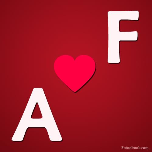 صور حرف A مع F على شكل قلب خلفيات رومانسية
