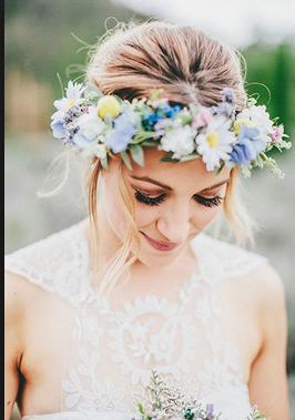 الورود مع طرحة العروس المحجبة - اطواق ورد للشعر العروس